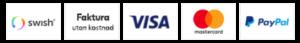 Här kan du betala säkert med: VISA, faktura, MasterCard, Paypal
